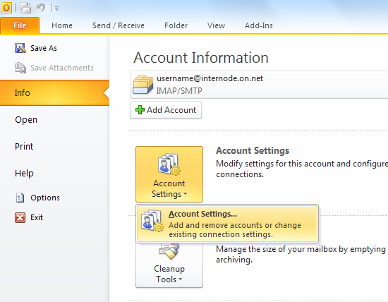 Screenshot: Account Information