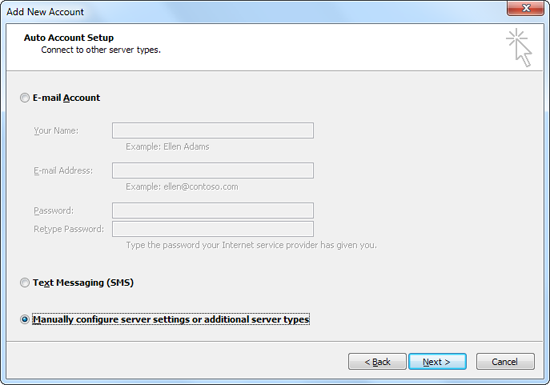 Screenshot: Selecting 'Manually configure server settings or additional server types'