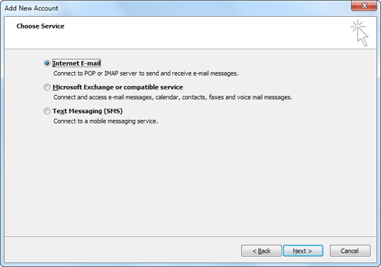 Screenshot: Selecting 'Internet E-mail'