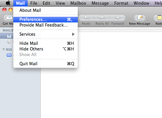 Mail /> Preferences…