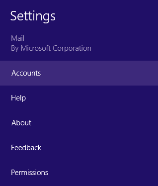 Screenshot: Locating 'Accounts' in the menu